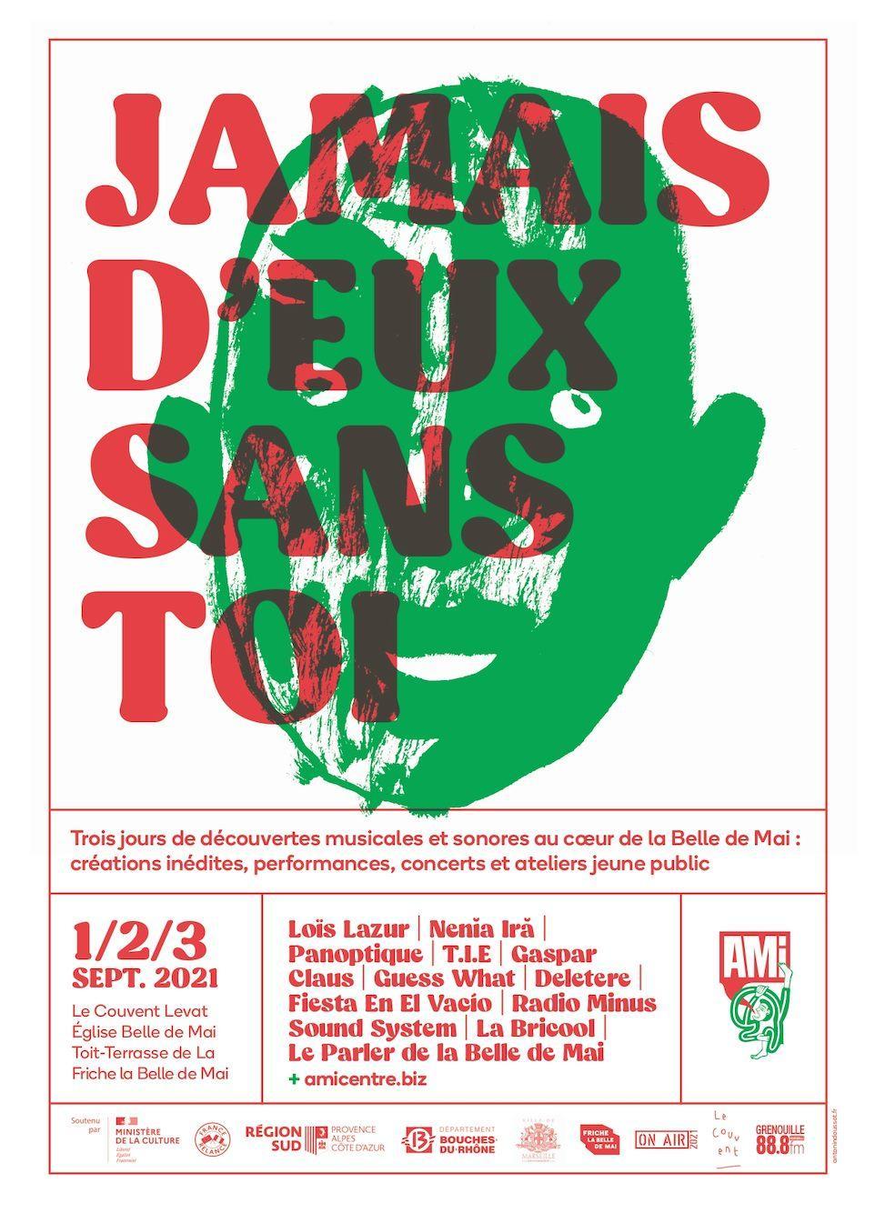 """L'AMI (Marseille) organise son nouveau rendez-vous culturel et créatif """"JAMAIS D'EUX SANS TOI"""" , les 1,2, et 3 septembre"""