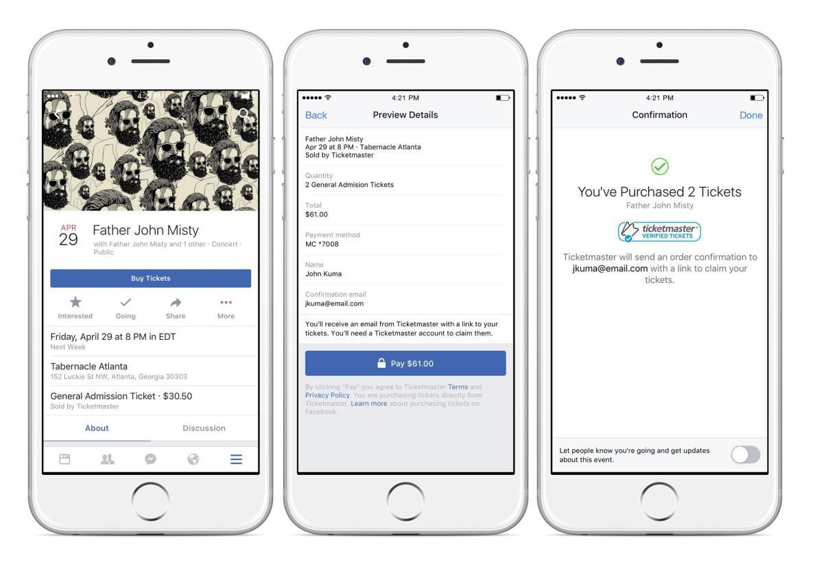 Facebook se lance dans la vente de places de concerts en ligne